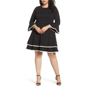 ELIZA J Bell Sleeve Tiered Fit and Flare Dress
